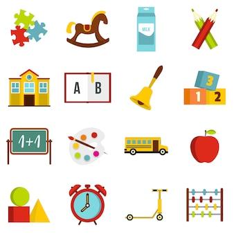 Kleuterschool symbool pictogrammen instellen in vlakke stijl