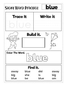 Kleuterschool zicht woorden oefenwerkbladen