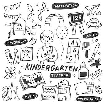 Kleuterschoolleraar en speelgoed in krabbelillustratie