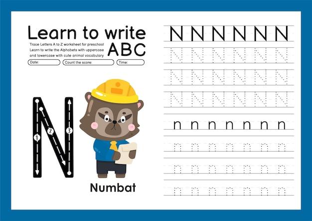 Kleuterspoor a tot z met letter- en dierenvocabulaire werkblad over alfabetten n numbat