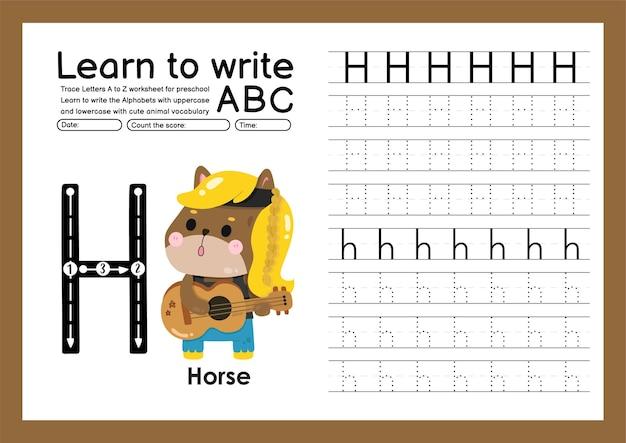 Kleuterspoor a tot z met letter- en dierenwoordenschat werkblad over alfabetten h paard