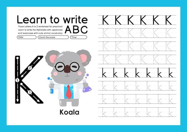 Kleuterspoor a tot z met letter- en dierenwoordenschat werkblad over alfabetten k koala