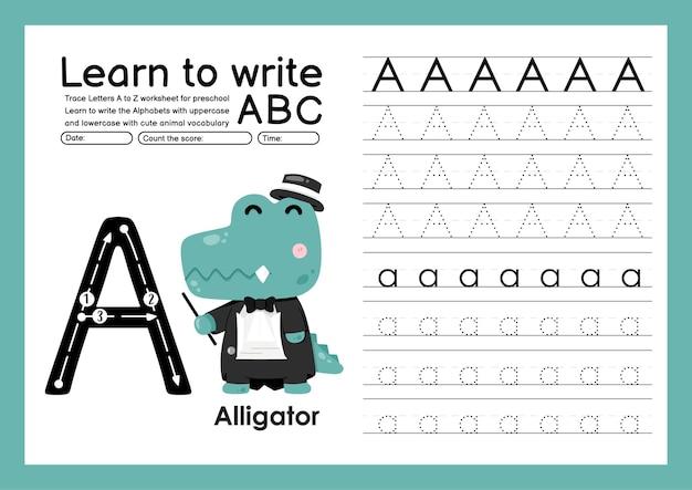 Kleuterspoor a tot z met woordenschat van letters en dieren alfabet overtrekken werkblad a alligator