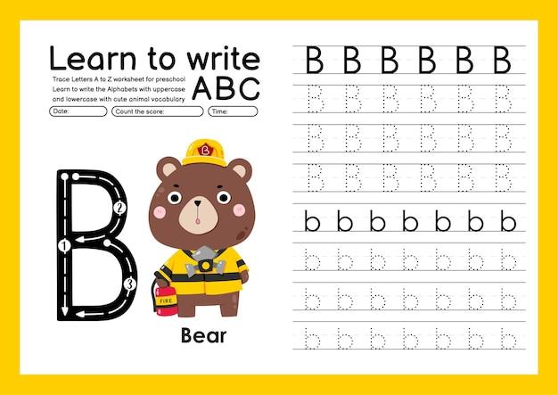 Kleuterspoor a tot z met woordenschat van letters en dieren alfabet overtrekken werkblad b beer