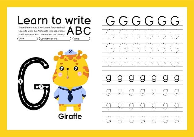 Kleuterspoor a tot z met woordenschat van letters en dieren alfabet overtrekken werkblad g giraffe