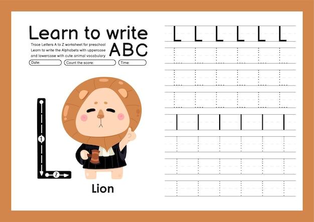 Kleuterspoor a tot z met woordenschat van letters en dieren alfabet overtrekken werkblad l lio