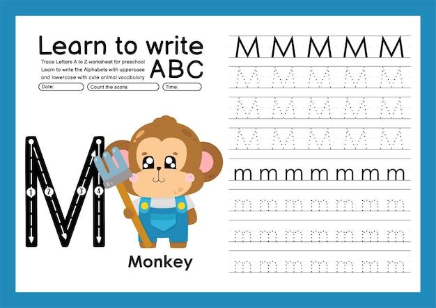 Kleuterspoor a tot z met woordenschat van letters en dieren alfabet overtrekken werkblad m aap