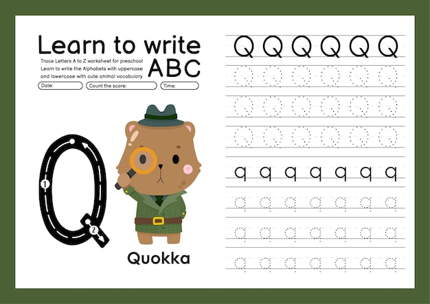 Kleuterspoor a tot z met woordenschat van letters en dieren alfabet overtrekken werkblad q quokka
