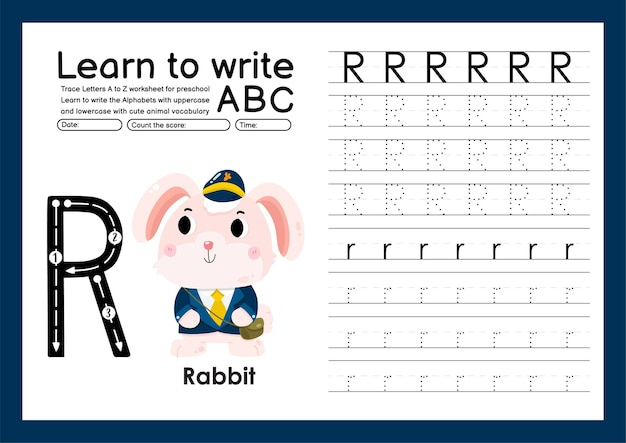 Kleuterspoor a tot z met woordenschat van letters en dieren alfabet overtrekken werkblad r konijn