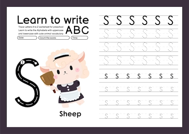 Kleuterspoor a tot z met woordenschat van letters en dieren alfabet overtrekken werkblad s schapen