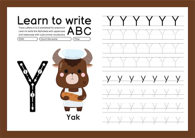 Kleuterspoor a tot z met woordenschat van letters en dieren alfabet overtrekken werkblad y yak