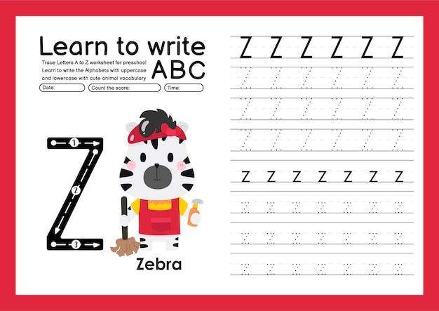 Kleuterspoor a tot z met woordenschat van letters en dieren alfabet overtrekken werkblad z zebra