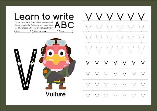Kleuterspoor a tot z met woordenschat van letters en dieren alfabet traceren werkblad v gier