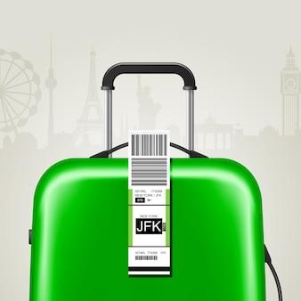 Kleverig bagagelabel met jfk new york airport-bord, handbagage label sjabloon