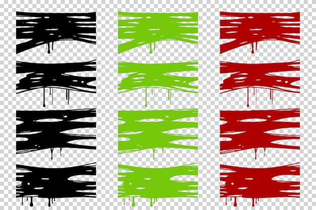 Kleverig groen slijm van halloween, bloed en zwarte silhouet frame set geïsoleerd op transparant.