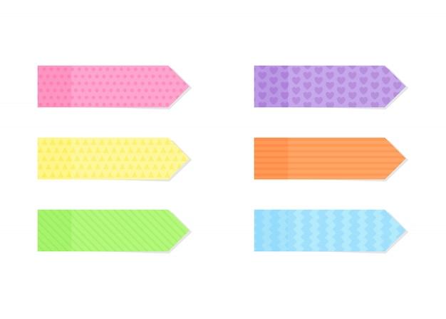 Kleverig kleurrijk en gestructureerd notitiepapier of marker in vlakke stijl