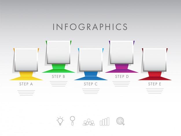Kleverige nota tijdlijn infographic elementen met vijf verschillende le