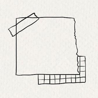 Kleverige nota vector papier element in de hand getekende stijl op papier textuur