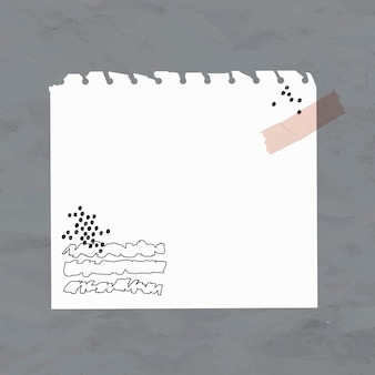 Kleverige nota vector witboekelement in de stijl van memphis