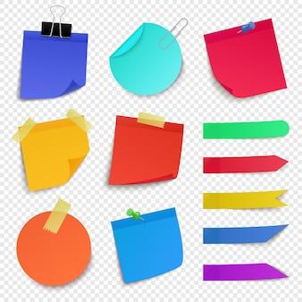 Kleverige papieren notities. notitiepapier blad, papieren memo kleurrijke stickers, kleverige zakelijke post-it pin opmerking illustratie pictogrammen instellen. stickerherinnering, blanco, onthoud