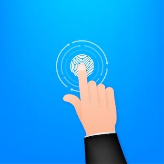 Klik hand in platte stijl. druk op touchscreen. handcursorpictogram. vinger klik icoon. vector stock illustratie