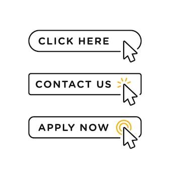 Klik hier, neem contact met ons op en solliciteer nu lege knop in lijnstijlontwerp