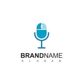 Klik op podcast logo-ontwerpsjabloon