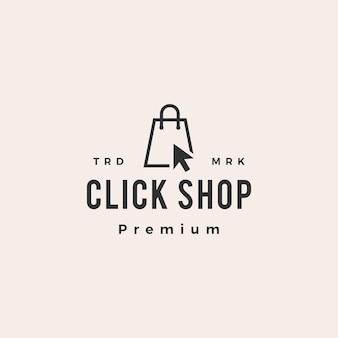 Klik op winkel boodschappentas hipster vintage logo