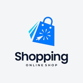 Klik op winkel logo pictogram ontwerp. online winkel logo ontwerp