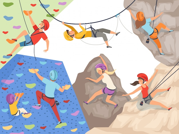 Klim karakters. extreme sport rotswand rotsen en stenen grote rotsachtige heuvels en bergen verkennen mannelijke en vrouwelijke sporters
