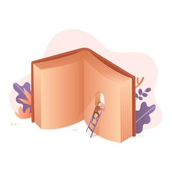 Klim omhoog en kijk omhoog naar de illustratie van het boekvenster