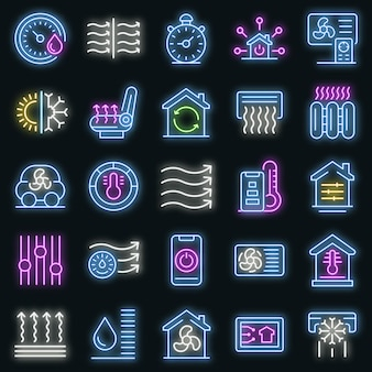 Klimaatbeheersing systemen pictogrammen instellen. overzicht set klimaatbeheersing systemen vector iconen neon kleur op zwart