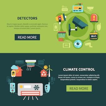 Klimaatregeling en detectoren banners