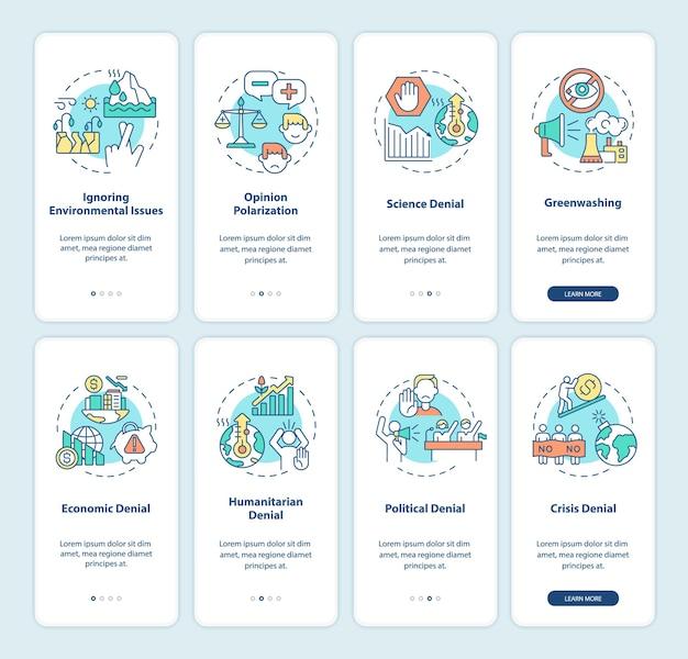 Klimaatscepticisme en samenzwering onboarding paginaschermset voor mobiele apps. groene glans doorloop 4 stappen grafische instructies met concepten. ui, ux, gui vectorsjabloon met lineaire kleurenillustraties