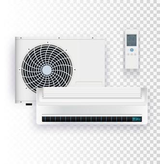 Klimaatsysteem met buiten- en binnenunit vectorillustratie van airconditioner