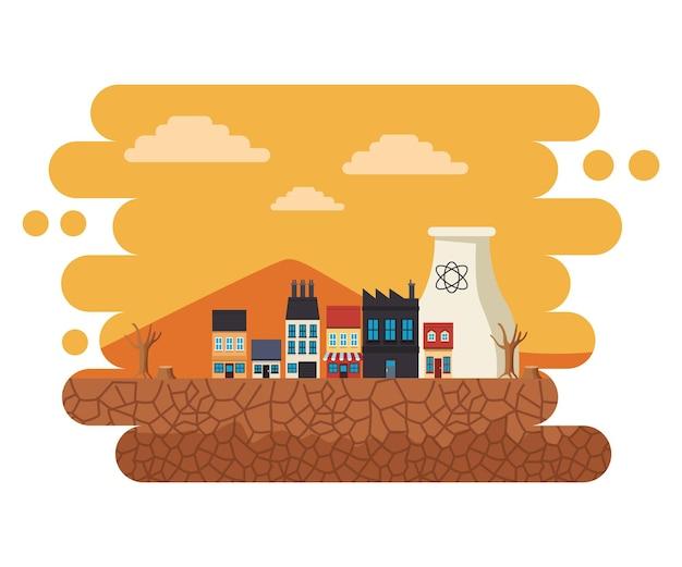 Klimaatverandering effect stad scape woestijnachtige scène illustratie