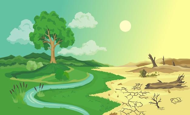 Klimaatverandering woestijnvorming illustratie. wereldwijde milieuproblemen.