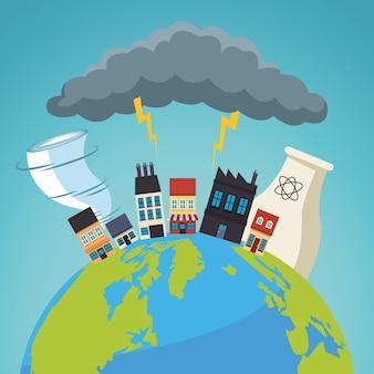Klimaatveranderingseffect stadsscape in aardeplaneet en storm elektrische illustratie