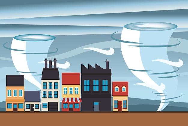 Klimaatveranderingseffect stadsscène met twisterillustratie