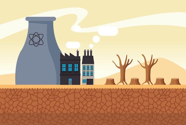 Klimaatveranderingseffect woestijnlandschap van de stad met de illustratie van de schoorsteenfabriek