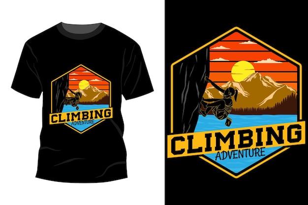 Klimavontuur t-shirt mockup ontwerp vintage retro