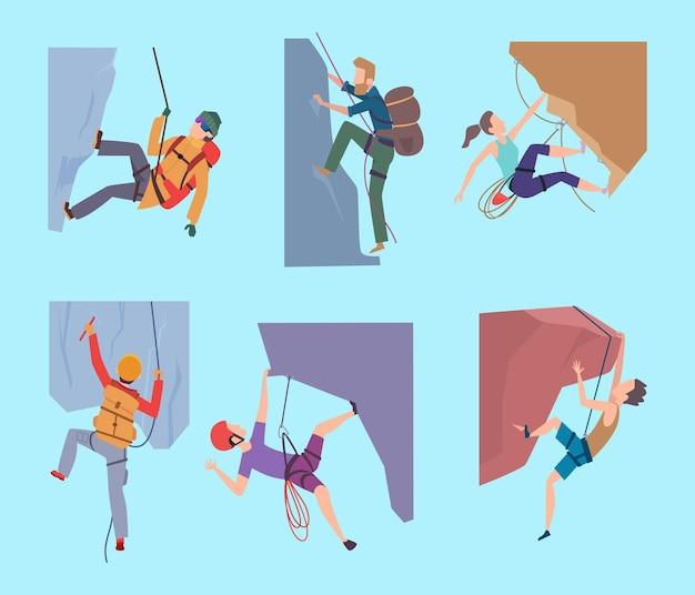 Klimmen karakters. sport rockende mensen wandelen in berg extream mannelijke en vrouwelijke klimmers wandelaars vector set. rotsklimmen reizen, illustratie klim karakter naar berg