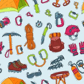 Klimmen klimmers apparatuur helm karabijnhaak en bijl om te klimmen in bergen illustratie sot van bergbeklimmen of alpinisme tools voor bergbeklimmers naadloze patroon achtergrond