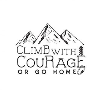 Klimmen vintage design. hand getekend met berg, klimuitrusting en typografie-elementen. buitenshuis avontuur.