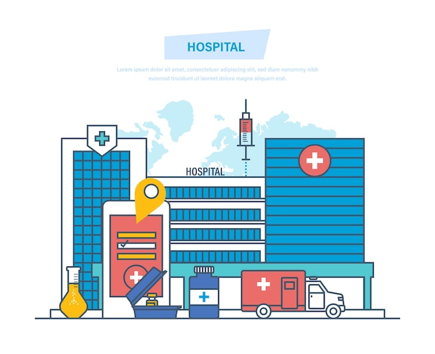 Kliniek buitenkant, medische architectuur ziekenhuis dunne lijn.