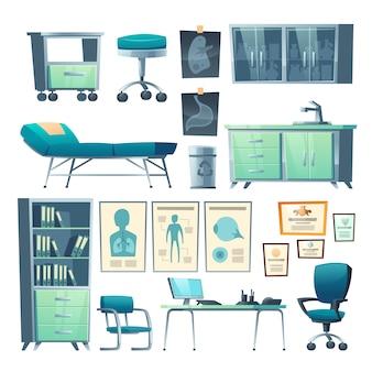 Kliniek interieur arts spullen geïsoleerde ziekenhuis set