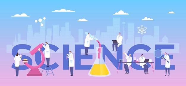 Klinisch onderzoek laboratoriumdrug, arts teamwork illustratie. man en vrouw die in medische toga experiment uitvoeren