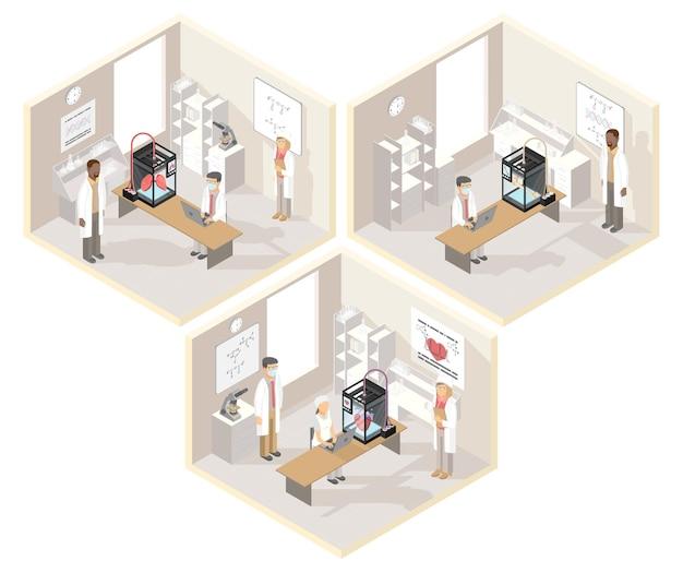 Klinische laboratoria set isometrische illustraties met medische 3d-printer