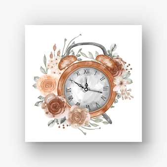 Klok alarm bloem pastel beige aquarel illustratie