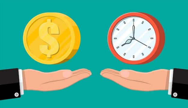 Klok en geld op handweegschalen. jaarlijkse inkomsten, financiële investeringen